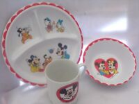 Lot of Vintage Mickey Mouse Glassware and Dishes-Disney/Pluto/Minnie