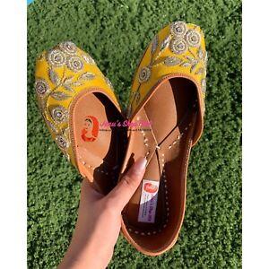 Yellow US Size 5-8 Punjabi jutti Indian khussa flat shoes Womens shoes mojari