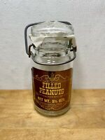 Vintage Filled PeanutsGlass Jar With Lid Pak Candy Co RARE