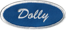 22158 Dolly Blue & White Name Tag Waitress Retro 50s Embroidered Iron On Patch