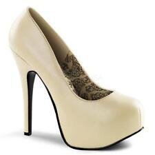 *** Bordello shoes Teeze-06 cream matte platform pumps stiletto heels 9
