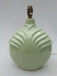 VINTAGE ART DECO STYLE GREEN CERAMIC TABLE LAMP BY ST. MICHAELS