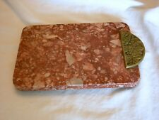 Pink Marble Serving Tray w/ Brass Handle