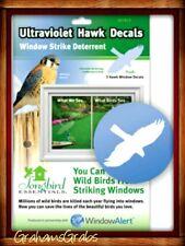 WINDOW ALERT 2 ULTRAVIOLET HAWK DECALS Prevent Window Strikes PROTECT WILD BIRDS