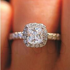 2.15 Ct Princess Cut Diamond Engagement Wedding Ring Real Solid 14k White Gold