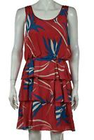 Sariah Womens Dress Size 8 Red Blue Floral Sheath Above Knee Sleeveless Silk