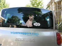 FRENCH BULL TERRIER DOG CAR STICKER NOVELTY GIFT COLLECTABLE WITH WAGGY TAIL