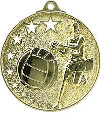 Netball 3D embossed 50mm Diameter Medal Inc Neck Ribbon / Engraving