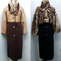 Vtg Icinoo Womens Sz LG Reversible Fur Leather Wool Coat Amazing!!! Art to wear