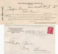 U.S. Snow-Church Western Collectors Co. Kan.1903 Invoice & Stamp Cover Ref 43179