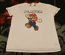 Nintendo Player Super Mario Mens White Printed Short Sleeve T Shirt Size M New