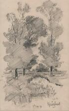 GEORGE CHARLES HAITE Victorian Pencil Drawing 1898 KESSINGLAND SUFFOLK LANDSCAPE