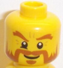 Lego Yellow Minifig Head x 1 with Handlebar Moustache