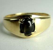 14K Yellow Gold Ring Black Star Sapphire Oval Cabochon Size 8-1/2 Small Thin