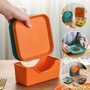 Round Square Plastic Small Plates Food Snack Dish Dinner Fruit Tray Tableware