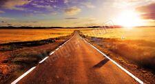 Quadro legno 59 x 32 cm stampa in alta qualità paesaggio strada viaggio grano