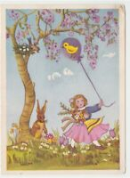 Little Girl Balloon Chick Rabbit Mushroom Bird Nesting Card Easter Vintage