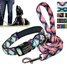 Personalised Nylon Dog Collar and Lead set Custom ID Nameplate Tags Engraved S-L