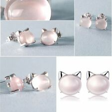 Kitty Cat Head Sterling Freshwater Lovely Stud Earrings Pearl Cat 925 Silver