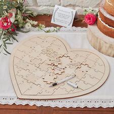 Herzpuzzle Holz - Alternative zum Gästebuch Vintage Puzzle Herz zur Hochzeit