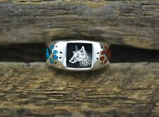 Wolf Ring, Twilight Wolf Ring with Red Coral and Turquoise, 925 Sterling Silver