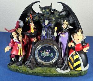 Disney Villains Mantle Desk Clock Hook Maleficent Evil Queen Chernabog Jafar