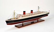 "RMS Queen Elizabeth Cunard Line Ocean Liner Wooden Ship Model 39"" with lights"