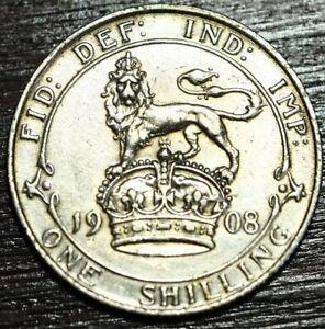1908 Edward VII .925 silver shilling coin