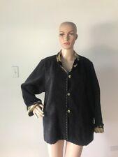 L. O'Neill Design Textured Black Jacket Coat High End Floral Collar & Cuffs XL