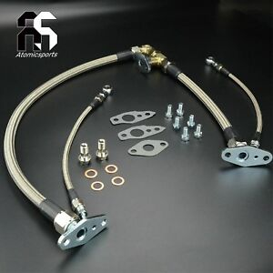 Oil feed & Drain Line For TOYOTA 1JZ-GTE Engine w/ Twin CT12A turbo Front Sump
