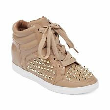 "Jessica Simpson Women's ""Trebble"" Tan Studded Spike High Top Sneakers Shoes 11"