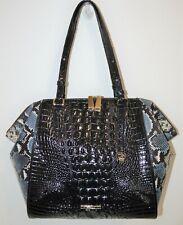 NWT Brahmin Black Tybalt Texture Leather Medium Camila Tote Bag Purse $465