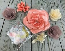 Paper Flower Decorations Set Nursery Wall Monogram Sign Decor Pink Lavender