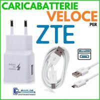 CARICABATTERIE VELOCE FAST CHARGER per ZTE NUBIA N1 LITE PRESA + CAVO MICRO USB