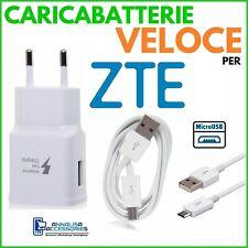 CARICABATTERIE VELOCE FAST CHARGER per ZTE BLADE A2 PLUS PRESA + CAVO MICRO USB