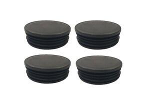 SET OF 4 BLACK BLANKING END CAP PIPE TUBE INSERTS FURNITURE FEET PLASTIC CAP