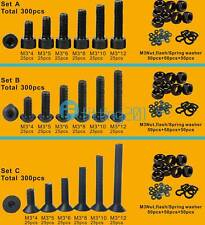 300pcs M3(3mm) Alloy Steel High Tensile Allen Bolts With Hex Nuts Washers Black