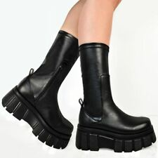 Womens Platform Stretchy Boots Comfy Black Goth Pull On Calf Punk Ankle Shoes