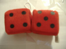 """1 PLUSH FUZZY DICE RED  2"""" INCHES HANG ON  YOUR CAR MIRROR"""