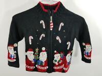 Tiara Girls 4T Toddler Baby Zip Up Cardigan Ugly Christmas Sweater Santa Claus