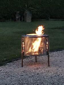 Large Upcycled Washing Machine Drum Fire Pit Firepit 3 Leg Sturdy Design