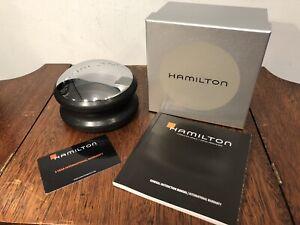 New HAMILTON Round Metal Watch Presentation Carrying Case