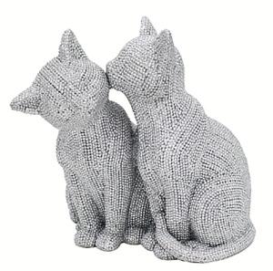 19cm Two Cats ornament glitzy glittery silver diamante figurine cat lover gift