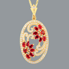 New Cubic Zirconia 18K Yellow Gold Plated Red Ruby Marquise Pendant Free Chain