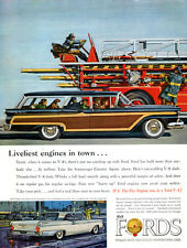 Fire Truck Engine FORD COUNTRY SQUIRE Firemen GALAXIE CLUB VICTORIA '59 Print Ad