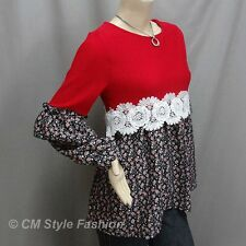 Empire Patchwork Floral Smock Tunic Top Red XS