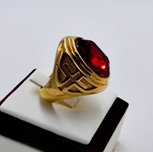 MEN RING RUBY STAINLESS STEEL YELLOW GOLD MEDIEVAL KNIGHT TEMPLAR CROSS SIZE 8 g