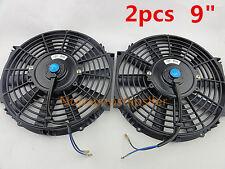 "2Pcs 9"" INCH 12V PULL/PUSH CAR RADIATOR ENGINE /TRANS OIL COOLING FAN+MOUNTING"