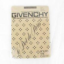 Vtg Givenchy French Dot Patterned Pantyhose Ultra Sheer Sandalfoot Brown Average