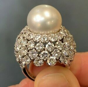 White Round 925 Sterling Silver Pearl Cocktail Women's Ring Handmade Fine Party